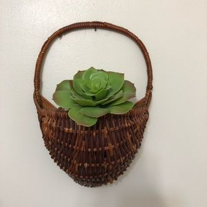 Vintage Wicker Plant Hanging Wall Basket